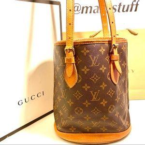 Louis Vuitton Bucket Shoulder PM Bag Purse LV